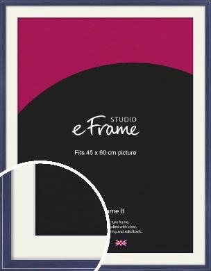 High Gloss Oxford Blue Picture Frame & Mount, 45x60cm (VRMP-328-M-45x60cm)