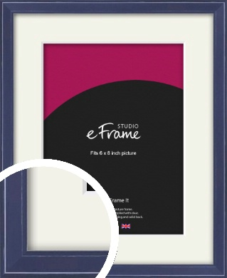 High Gloss Oxford Blue Picture Frame & Mount, 6x8