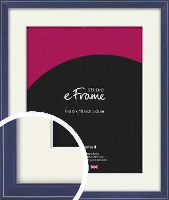 High Gloss Oxford Blue Picture Frame & Mount, 8x10