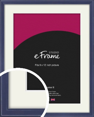 High Gloss Oxford Blue Picture Frame & Mount, 9x12