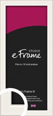 Narrow High Gloss White Picture Frame, 4x10