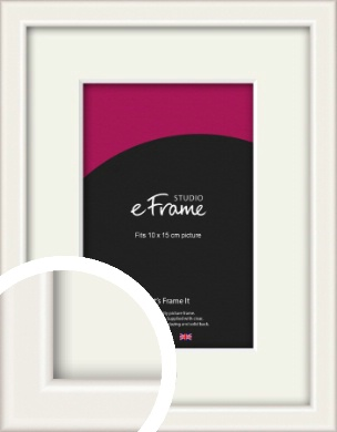 Narrow High Gloss White Picture Frame & Mount, 10x15cm (4x6