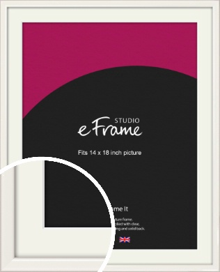 Narrow High Gloss White Picture Frame & Mount, 14x18