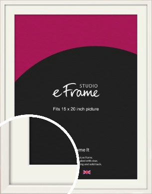 Narrow High Gloss White Picture Frame & Mount, 15x20
