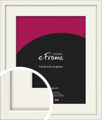 Narrow High Gloss White Picture Frame & Mount, 20x25cm (8x10
