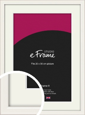 Narrow High Gloss White Picture Frame & Mount, 20x30cm (8x12