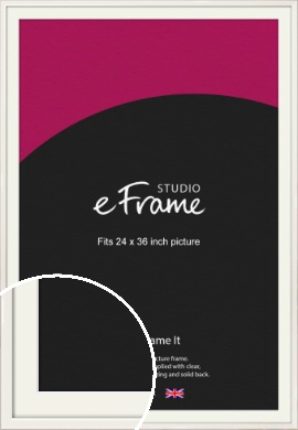 Narrow High Gloss White Picture Frame & Mount, 24x36