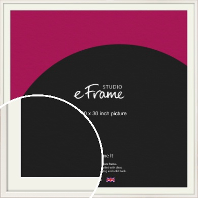 Narrow High Gloss White Picture Frame & Mount, 30x30