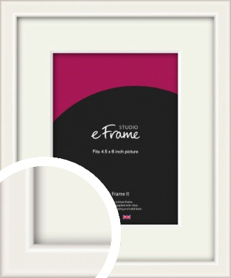 Narrow High Gloss White Picture Frame & Mount, 4.5x6