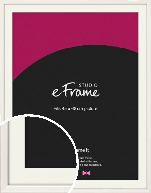 Narrow High Gloss White Picture Frame & Mount, 45x60cm (VRMP-769-M-45x60cm)
