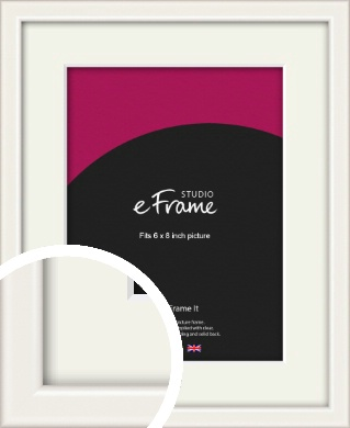 Narrow High Gloss White Picture Frame & Mount, 6x8