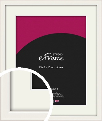Narrow High Gloss White Picture Frame & Mount, 8x10