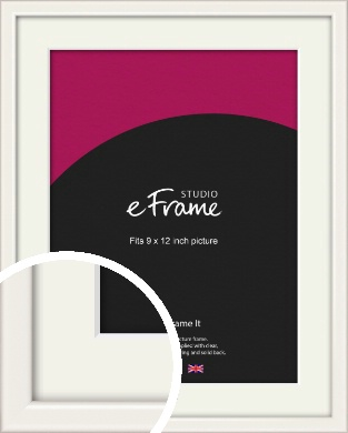 Narrow High Gloss White Picture Frame & Mount, 9x12