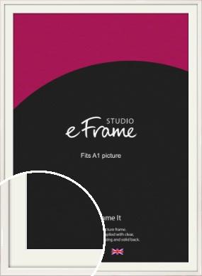 Narrow High Gloss White Picture Frame & Mount, A1 (594x841mm) (VRMP-769-M-A1)