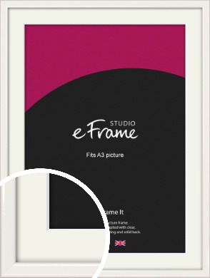 Narrow High Gloss White Picture Frame & Mount, A3 (297x420mm) (VRMP-769-M-A3)