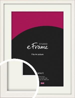 Narrow High Gloss White Picture Frame & Mount, A4 (210x297mm) (VRMP-769-M-A4)
