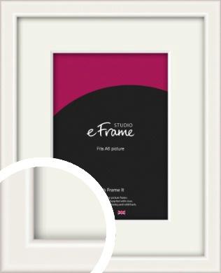 Narrow High Gloss White Picture Frame & Mount, A6 (105x148mm) (VRMP-769-M-A6)