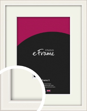 Narrow High Gloss White Picture Frame & Mount (VRMP-769-M)