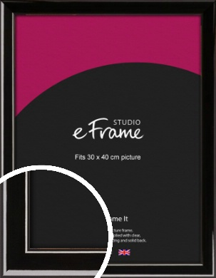 High Shine Black Picture Frame, 30x40cm (VRMP-774-30x40cm)