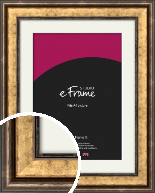 Charming Rustic Gold Picture Frame & Mount, A4 (210x297mm) (VRMP-134-M-A4)