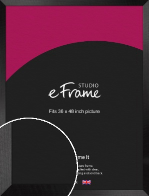 Simple Flat Brushed Black Picture Frame, 36x48