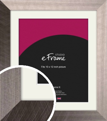 Subtle Etched Silver Picture Frame & Mount, 10x12