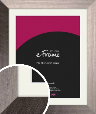 Subtle Etched Silver Picture Frame & Mount, 11x14