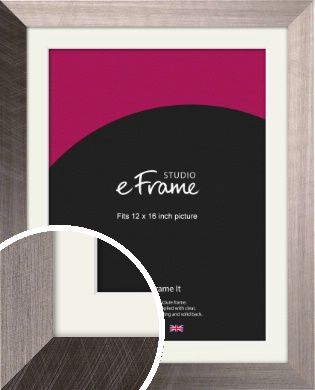 Subtle Etched Silver Picture Frame & Mount, 12x16