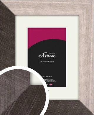Subtle Etched Silver Picture Frame & Mount, 4x6