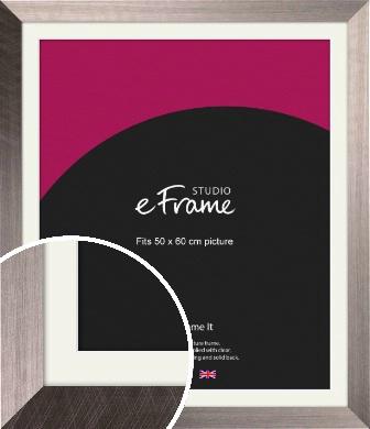 Subtle Etched Silver Picture Frame & Mount, 50x60cm (VRMP-533-M-50x60cm)