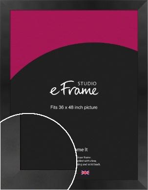Sleek Brushed Wide Black Picture Frame, 36x48