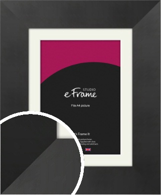Sleek Brushed Wide Black Picture Frame & Mount, A4 (210x297mm) (VRMP-728-M-A4)