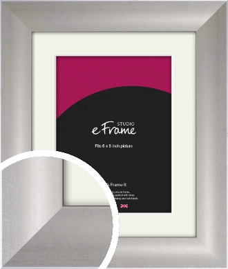Sleek & Simple Silver Picture Frame & Mount, 6x8