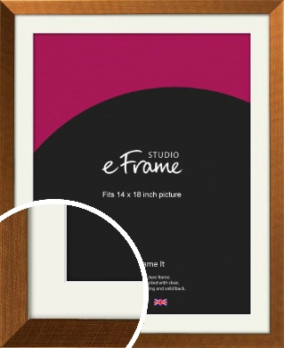 Glamorous Bronze / Copper Picture Frame & Mount, 14x18
