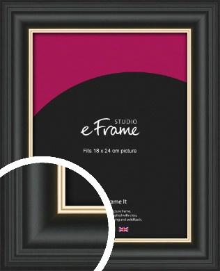 Scooped Gold Inner Edged Black Picture Frame, 18x24cm (VRMP-1240-18x24cm)