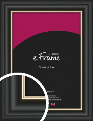 Scooped Gold Inner Edged Black Picture Frame, A4 (210x297mm) (VRMP-1240-A4)