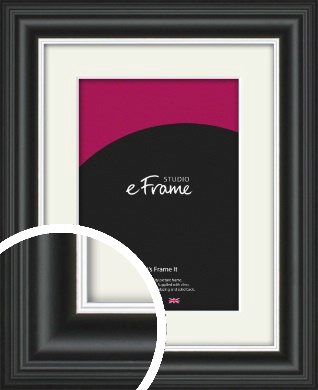 Scooped Silver Inner Edged Black Picture Frame & Mount (VRMP-1241-M)