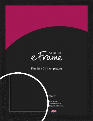 Straight Edged Box Black Picture Frame, 18x24