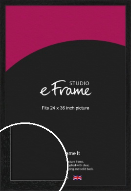 Straight Edged Box Black Picture Frame, 24x36