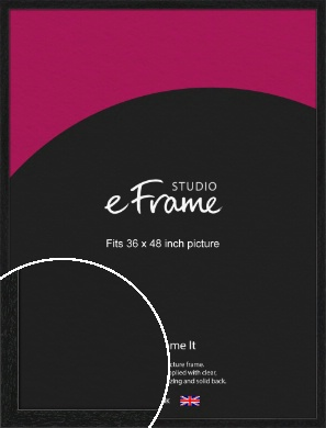 Straight Edged Box Black Picture Frame, 36x48