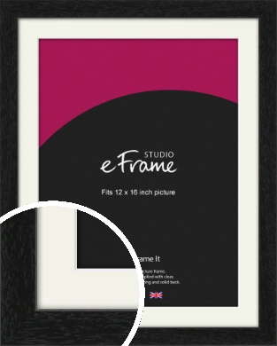 Straight Edged Box Black Picture Frame & Mount, 12x16