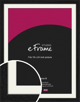 Straight Edged Box Black Picture Frame & Mount, 18x24