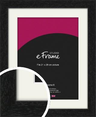 Straight Edged Box Black Picture Frame & Mount, 21x28cm (VRMP-1243-M-21x28cm)