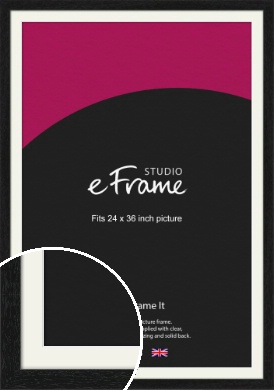 Straight Edged Box Black Picture Frame & Mount, 24x36