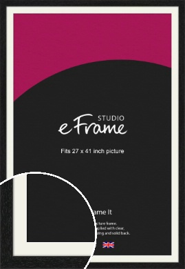 Straight Edged Box Black Picture Frame & Mount, 27x41