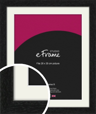 Straight Edged Box Black Picture Frame & Mount, 28x35cm (VRMP-1243-M-28x35cm)