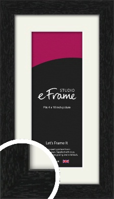 Straight Edged Box Black Picture Frame & Mount, 4x10
