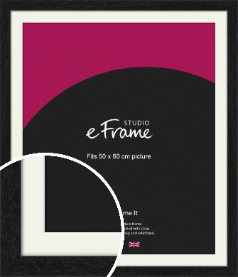 Straight Edged Box Black Picture Frame & Mount, 50x60cm (VRMP-1243-M-50x60cm)