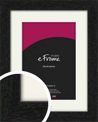 Straight Edged Box Black Picture Frame & Mount, A5 (148x210mm) (VRMP-1243-M-A5)