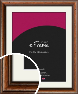 Antique Brown Picture Frame & Mount, 11x14